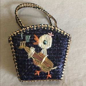 Duck with Guitar Vintage Straw Purse